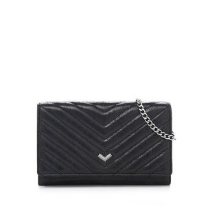 Botkier Black Leather Handbag Quilted Chain Wallet